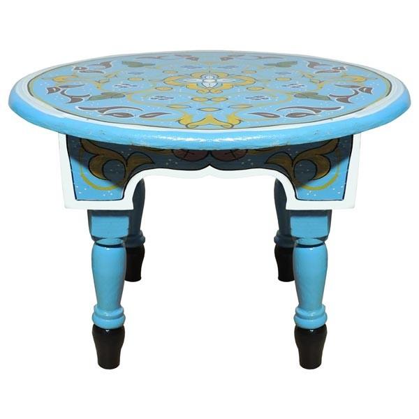 Orientalischer Holz Tisch Mida Hellblau