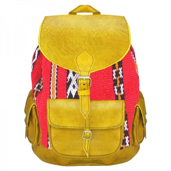 Orient Rucksack aus Leder & Kelim Gelb