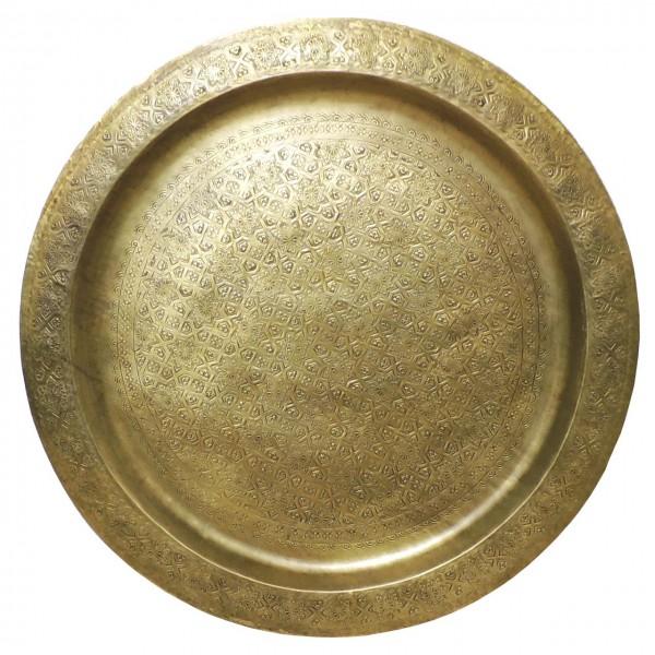 Marokkanisches Teetablett Messing Antiklook 80 cm