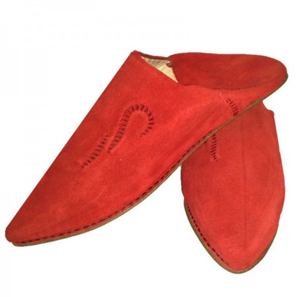 Marokkanische Babouche aus Wildleder Rot