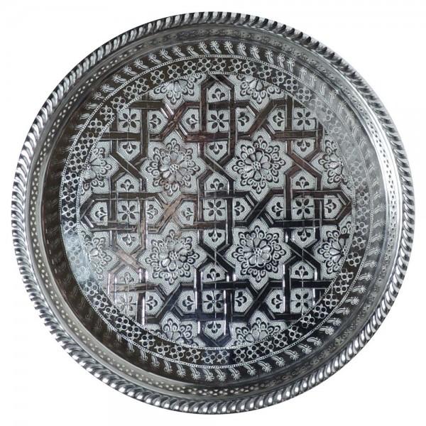 Orientalisches Teetablett Silber 27 cm