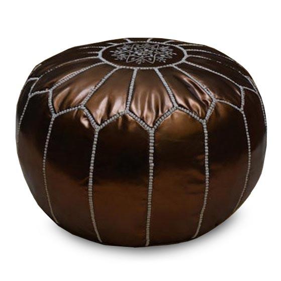 Marokkanisches Sitzkissen Leder Bronze