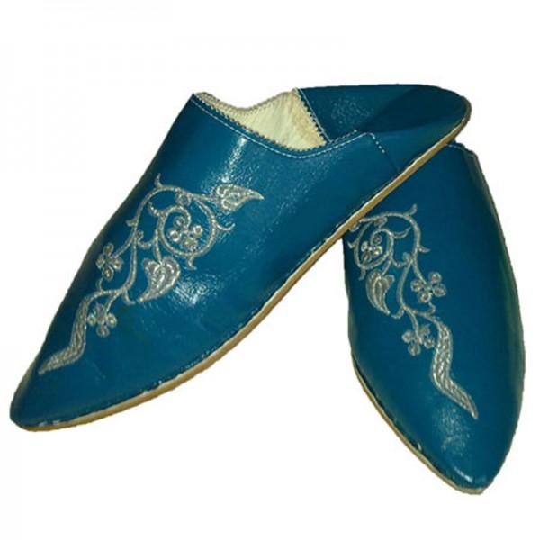 Orientalische Lederschuhe Türkis-Blau