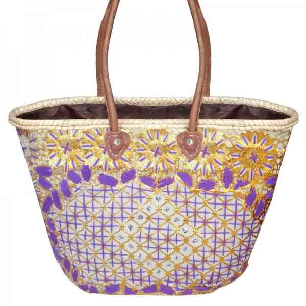 Marokkanische Korbtasche Skali Lila