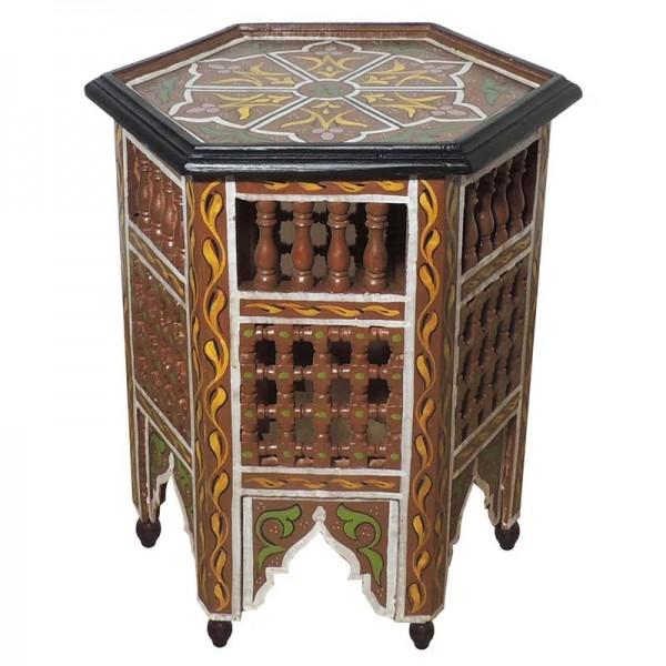Holz Beistelltisch aus Marokko Karamel