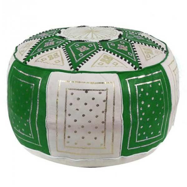 Marokkanischer Leder Pouf Fes Grün