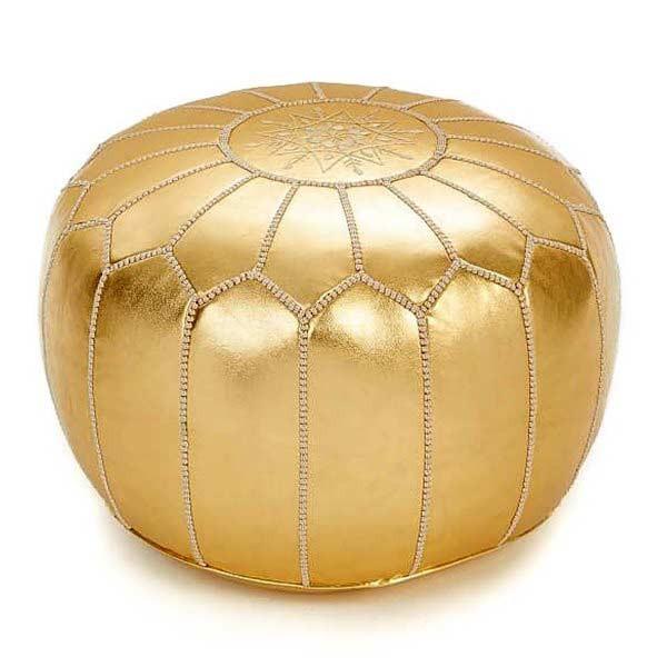 Marokkanisches Leder Sitzkissen Gold