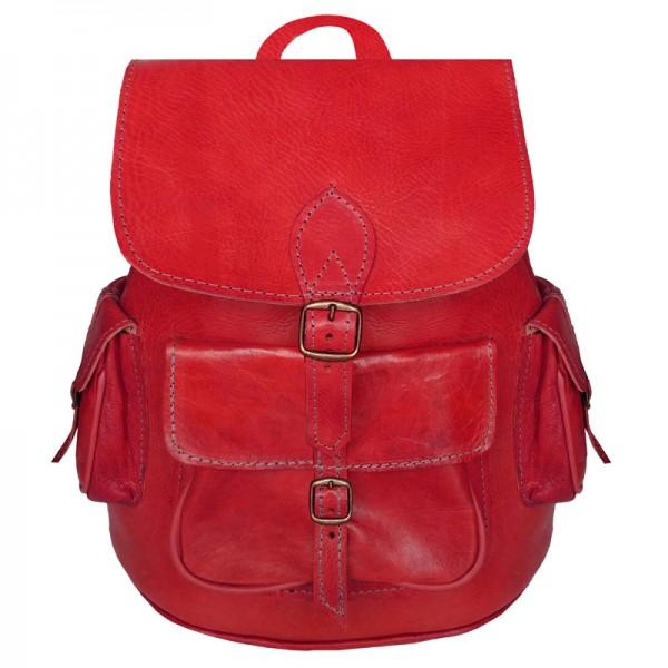 Rucksack aus Marokko Echtleder Rot