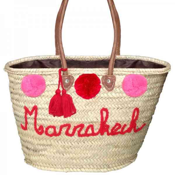 Marokkanische Korbtasche mit Pompons
