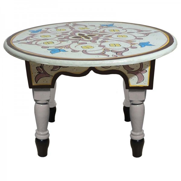 Marokkanischer Holz Tisch Mida Weiß