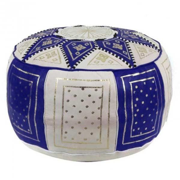 Orientalisches Ledersitzkissen Fes Blau