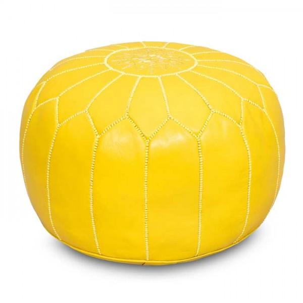 Marokkanisches Leder-Sitzkissen Gelb