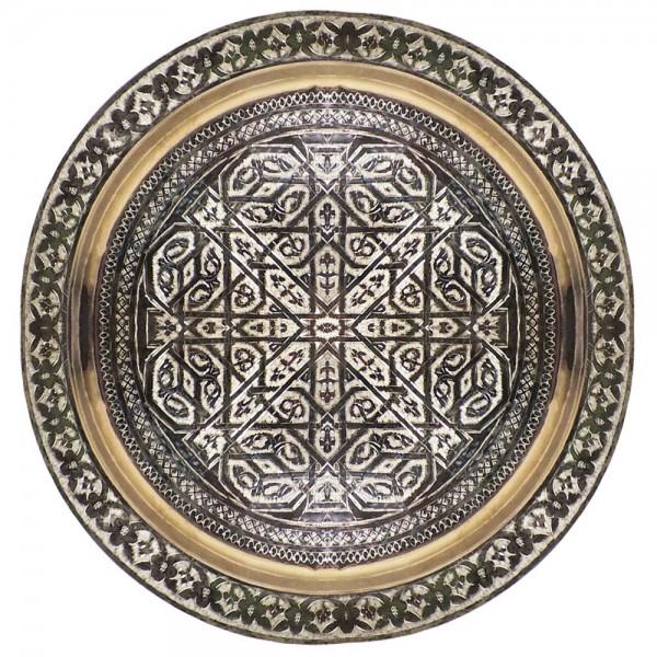 Messingtablett aus Marokko versilbert 80 cm