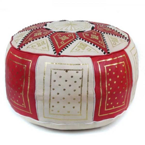 Marokkanisches Leder Sitzkissen Fes Rot