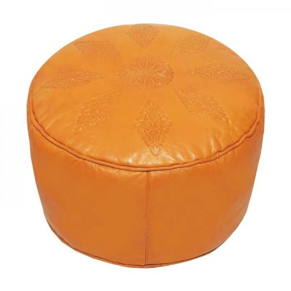 Orient Leder Sitzkissen Nora Orange