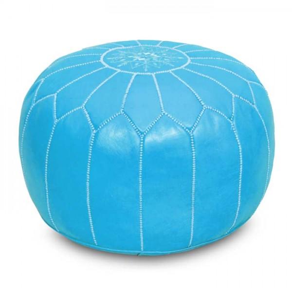 Orientalisches Leder Sitzkissen Hellblau