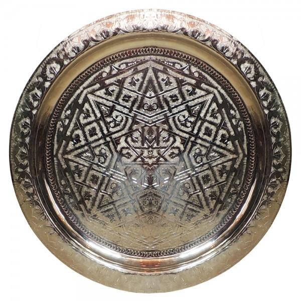Orientalisches Teetablett versilbert 60 cm