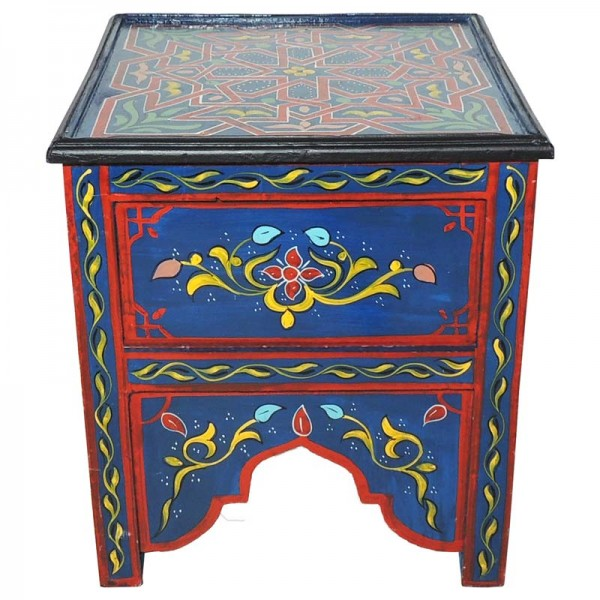 Marokkanischer Tisch Eckig Blau/Rot