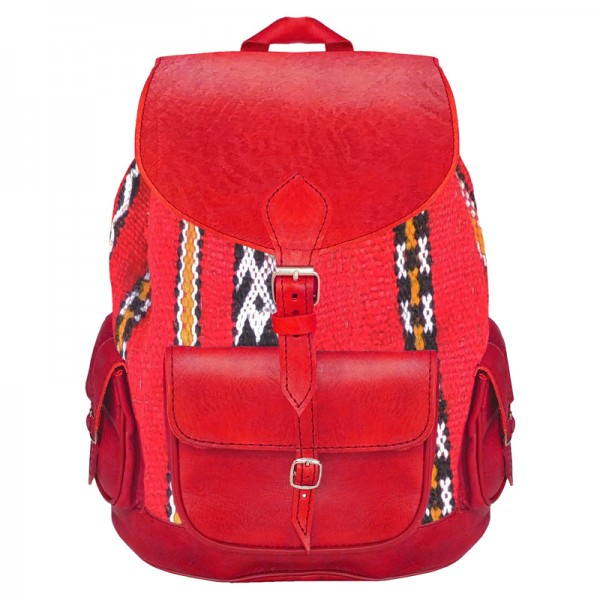 Orientalischer Leder Rucksack Kelim Rot