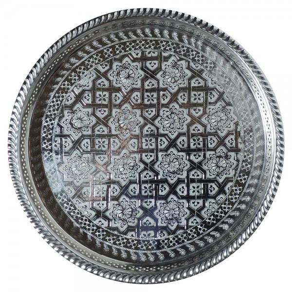 Arabisches Teetablett Fasi Silber 37 cm