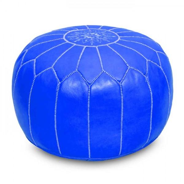 Marokkanisches Leder Sitzkissen Blau