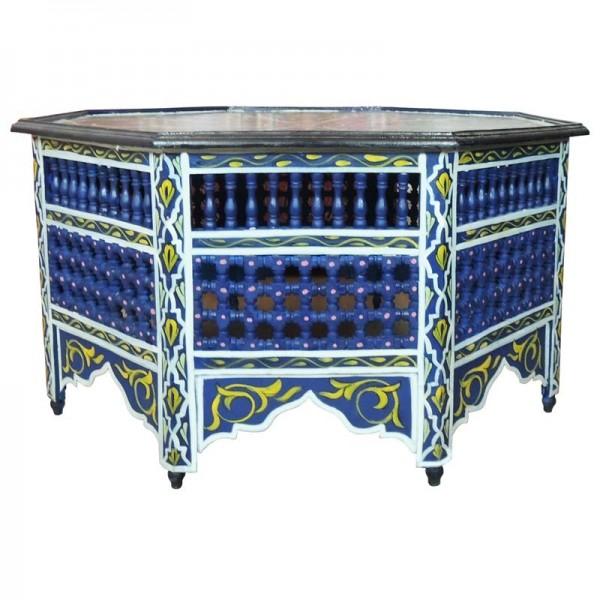 Marokkanischer Tisch Mocharabi Blau