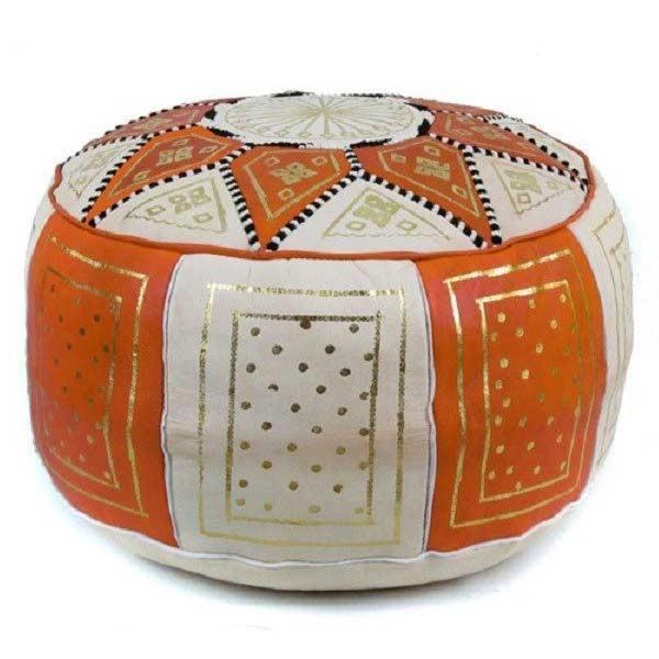 Arabisches Leder Sitzkissen Fes Orange