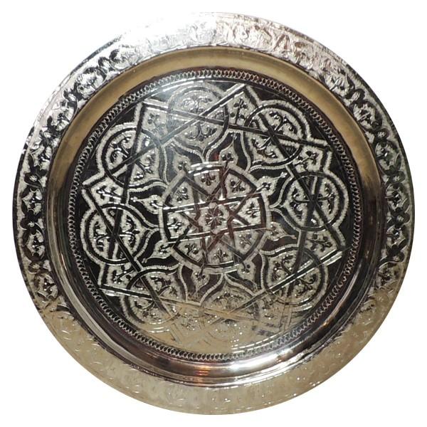 Marokkanisches Messingtablett versilbert 60 cm