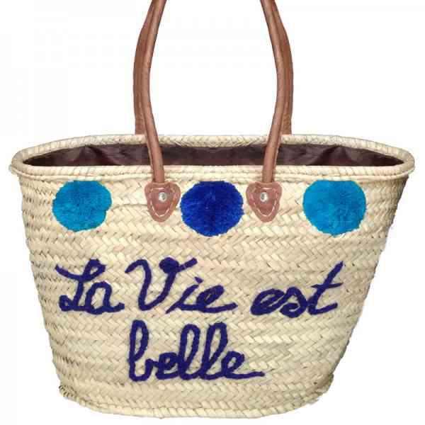 Marokkanische Korbtasche aus Stroh Blau