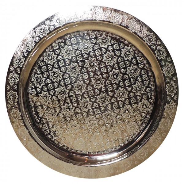 Messingtablett aus Marokko versilbert 60cm