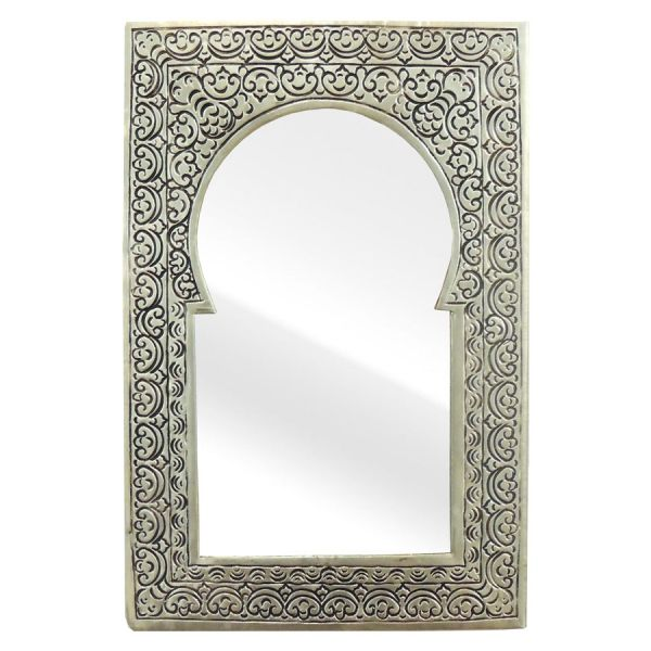 Orientalischer Messing Spiegel Silber