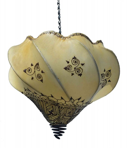 Orient Deckenlampe aus Leder Natur