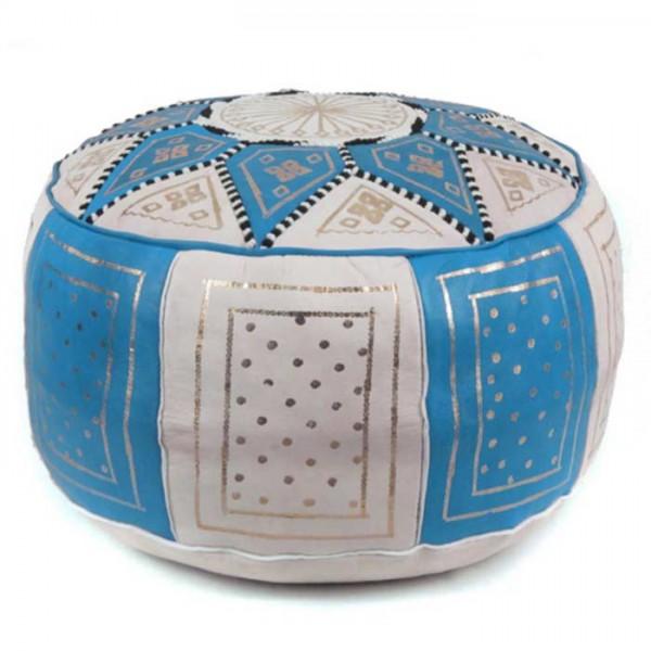 Orientalischer Pouf Leder Fes Hellblau