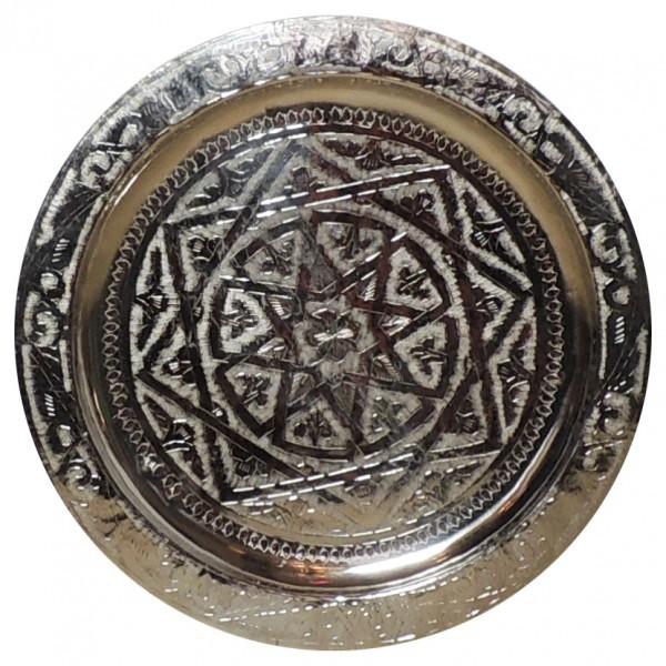 Arabisches Messingtablett versilbert 40 cm