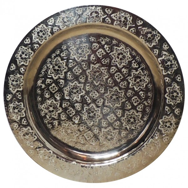 Messingtablett aus Marokko versilbert 40 cm