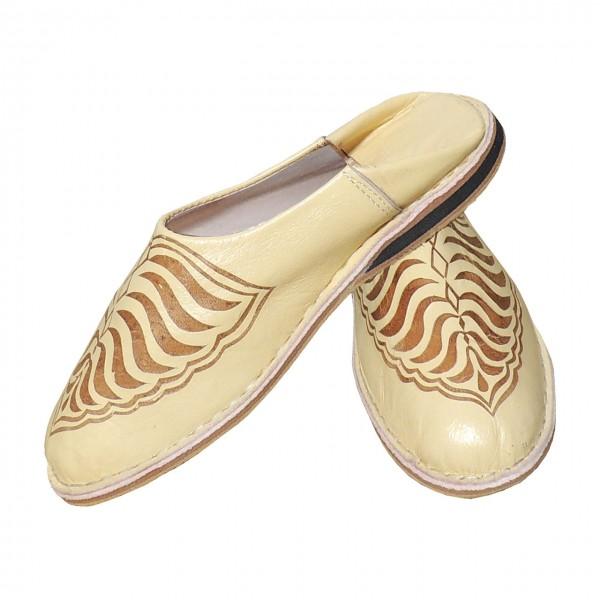 Orientalische Schuhe Zebra Creme-Weiß
