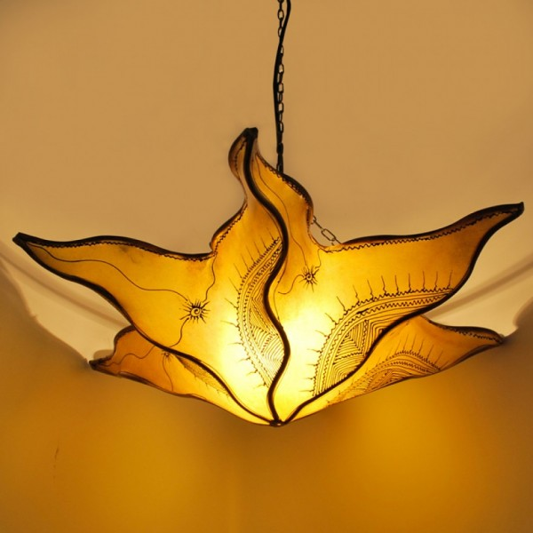 Hennalampe / Deckenlampe aus Leder