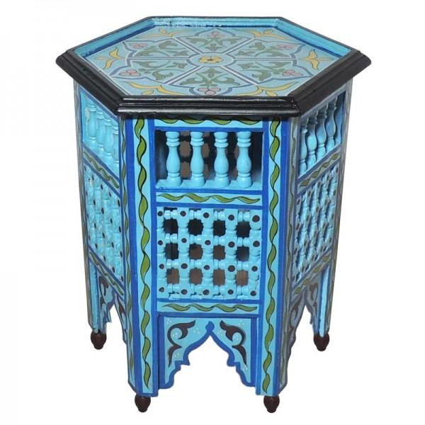 Marokkanischer Holz Beistelltisch Hellblau