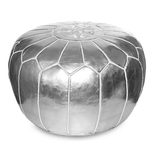 Marokkanisches Leder Sitzkissen Silber