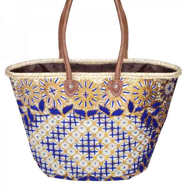 Marokkanische Korbtasche Skali Blau