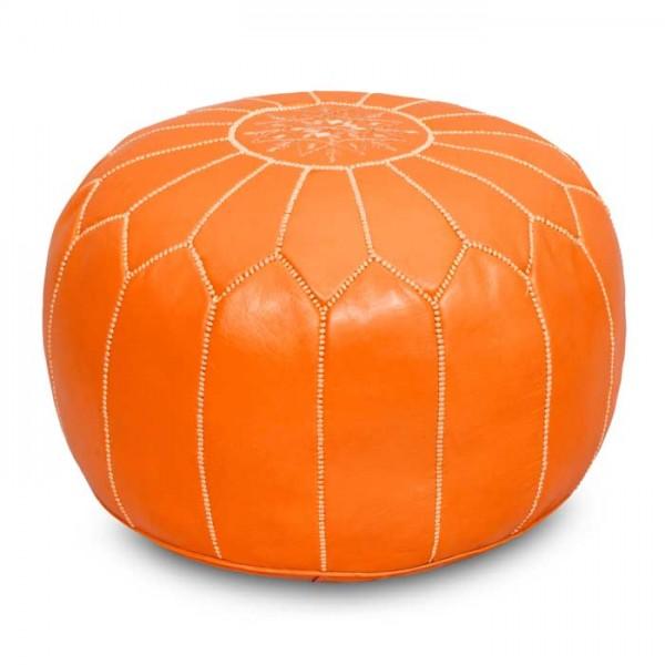 Marokkanisches Leder Sitzkissen Orange