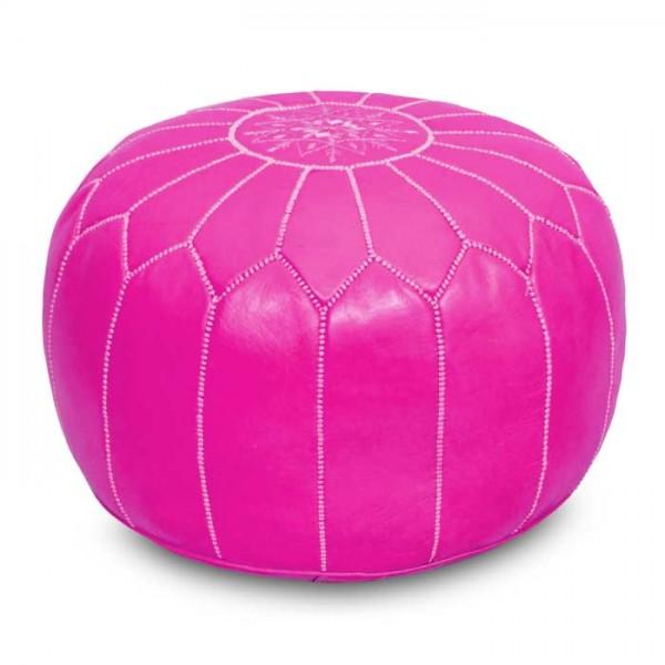 Marokkanisches Leder-Sitzkissen Pink