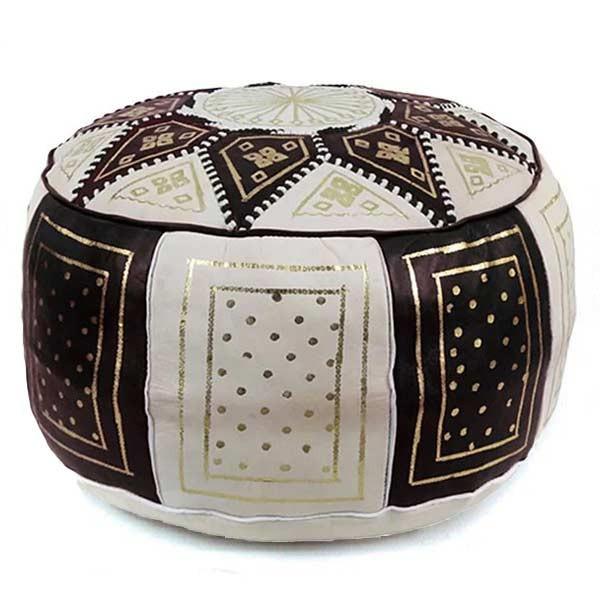 Arabisches Leder-Sitzkissen Fes Schwarz